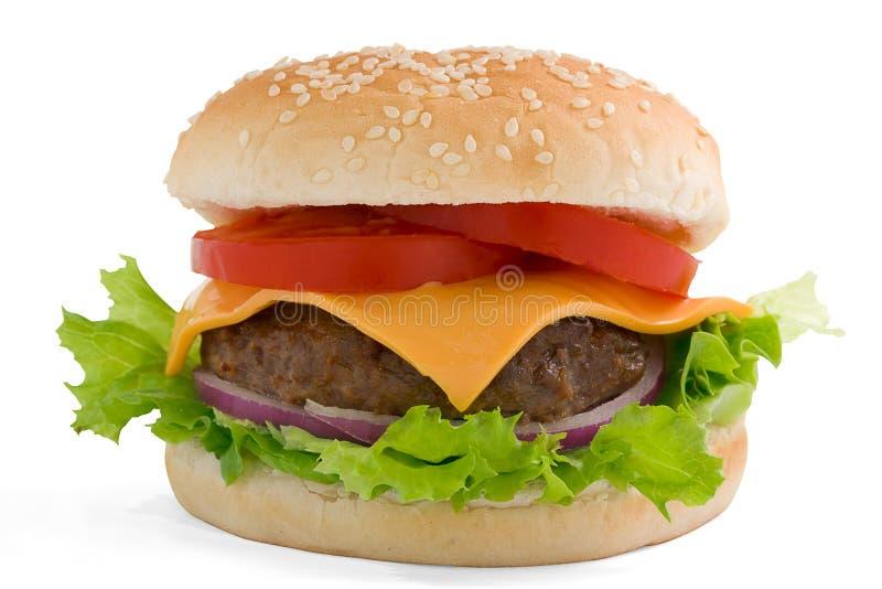 Hamburger, beef cheese tomato and red onion. stock photo