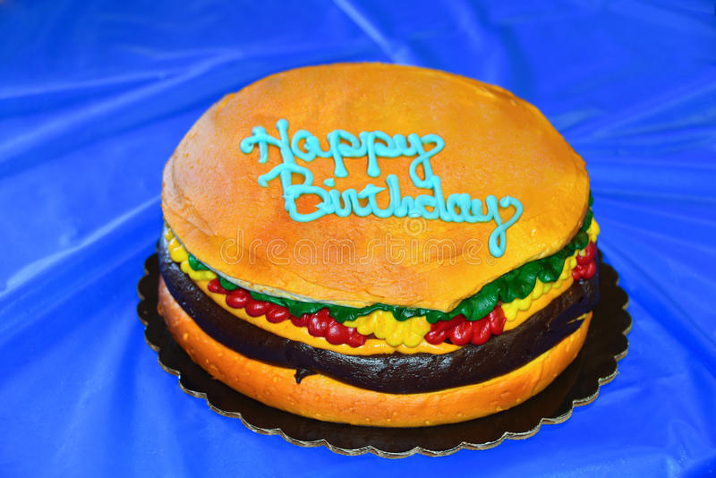 Hamburger birthday cake stock photo Image of birthday 73047492