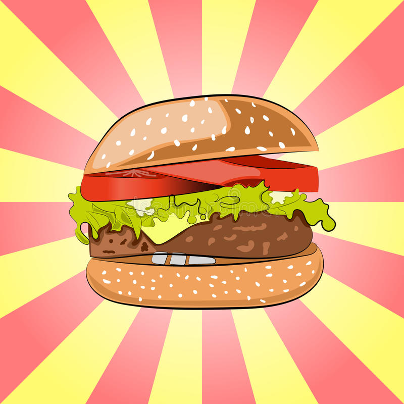 Hamburger or Burger with salad, cheese, beef meat cutlet and tomatoes. Cartoon-styled Fast Food -tasty Cheeseburger. stock illustration
