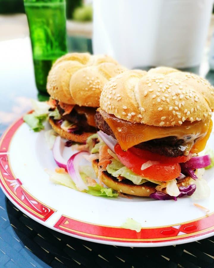 Hamburger casalinghi fotografie stock libere da diritti