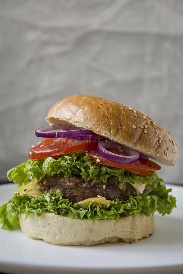 Hamburger casalingo fresco su un piatto bianco Alimento non sano fotografia stock libera da diritti