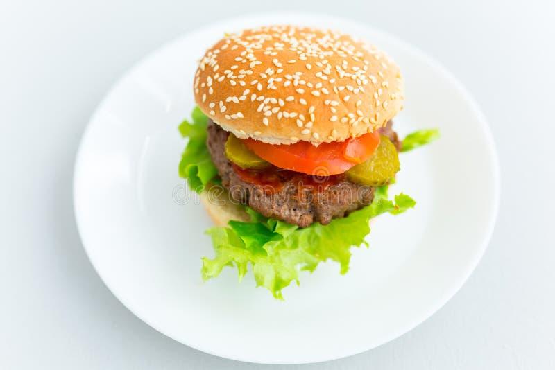 Hamburger casalingo sul piatto immagini stock libere da diritti