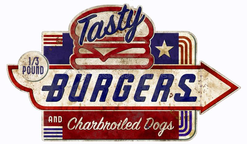 Burger and Hot Dog Sign Retro Hamburger vintage antique. Hamburger and Charbroiled Hot Dog Vintage Sign third pound burgers grill BBQ tasty stock images