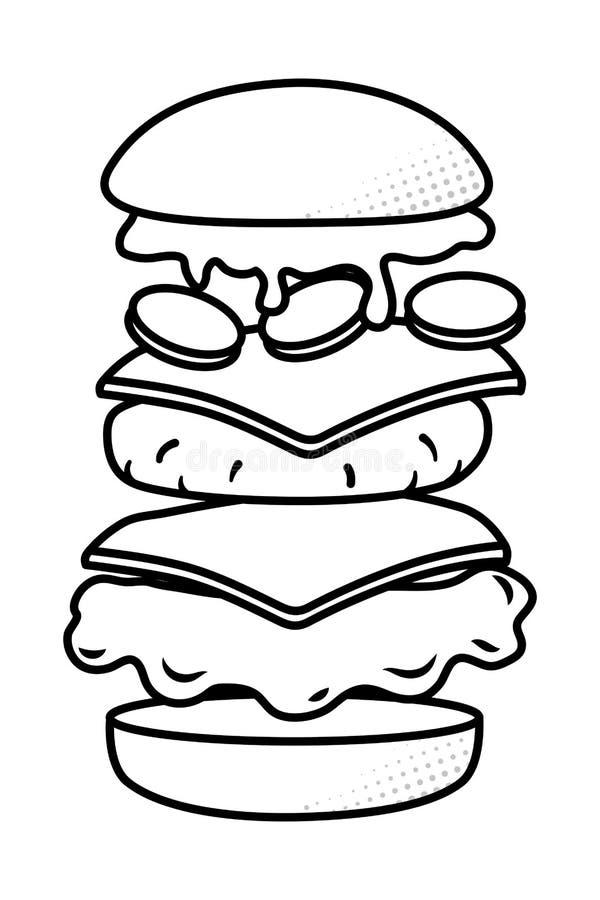 Hamburger che mostra tutti gli ingredienti in bianco e nero illustrazione vettoriale