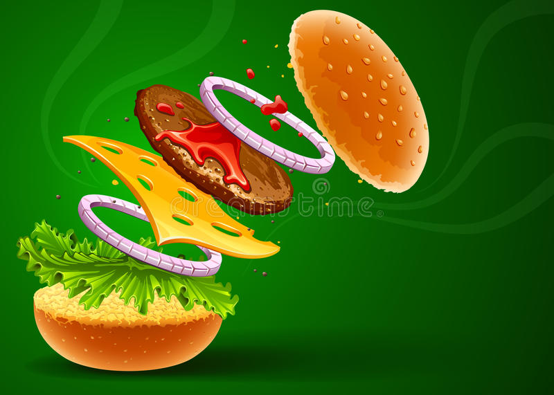 Download Hamburger with cheese stock vector. Illustration of nutritious - 18386783