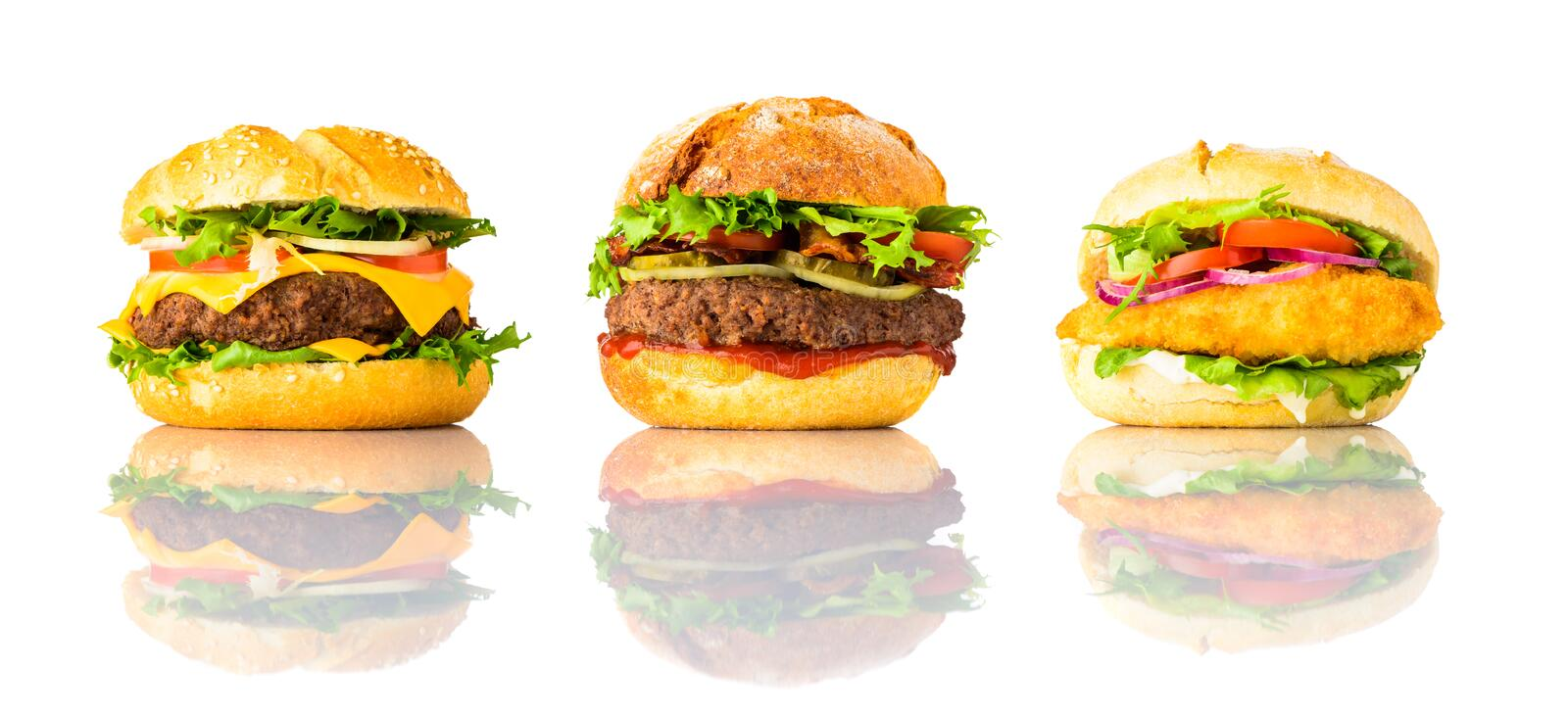 Hamburger, Cheeseburger and Chicken burger on White Background stock images