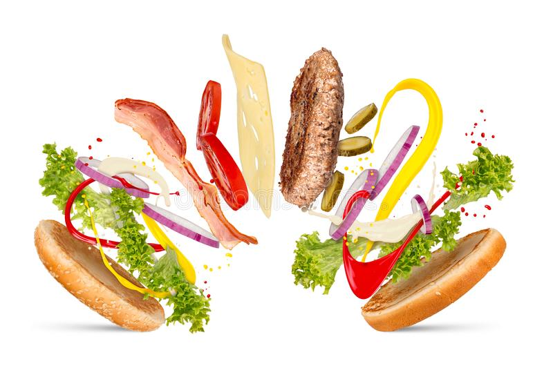 Hamburger cheeseburger explosion concept royalty free stock images