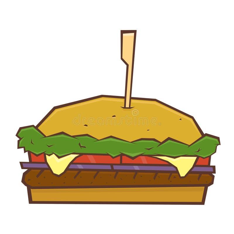 Hamburger, cheeseburger, pasto rapido, illustrazione di vettore illustrazione vettoriale