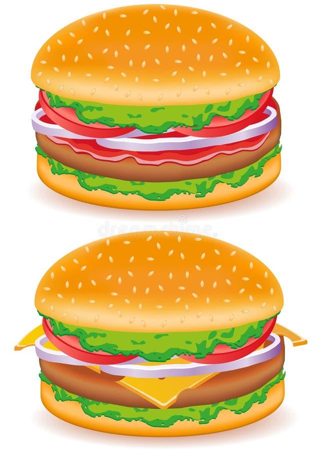Hamburger And Cheeseburger Vector Illustration Stock Photography