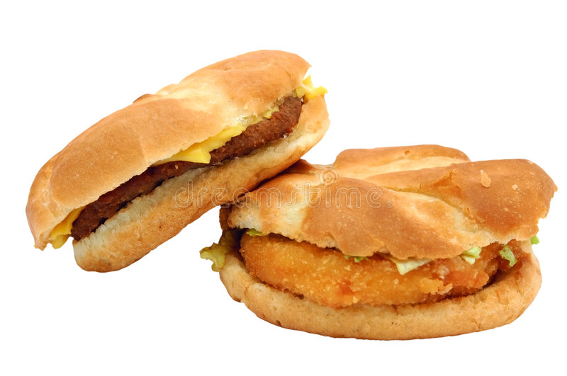 Hamburger and Chicken Sandwiches stock images