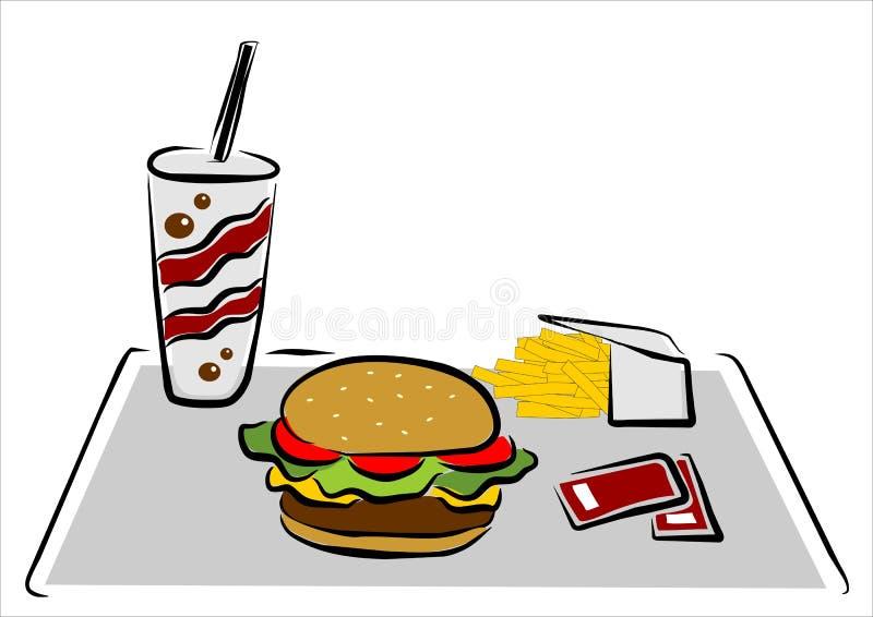 Download Hamburger with chips stock vector. Image of habits, burger - 24007376