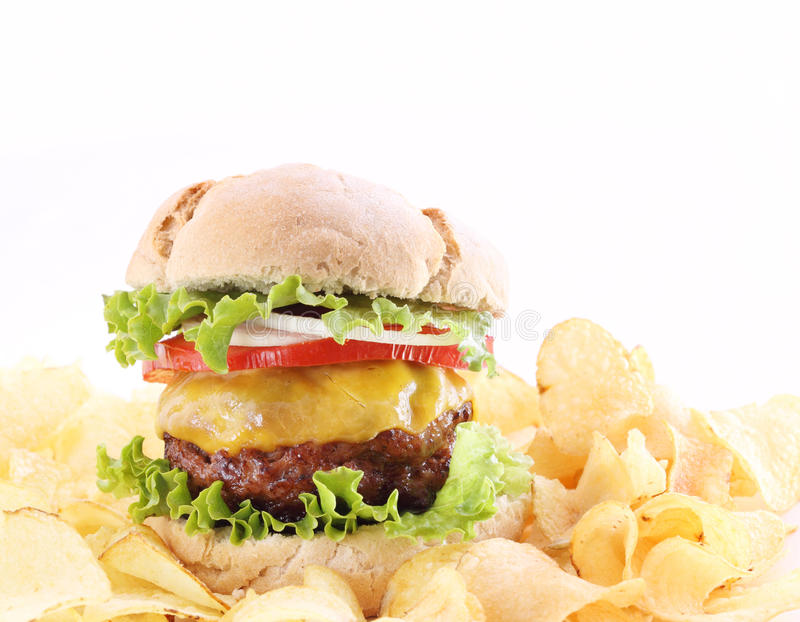 Download Hamburger With Chips Isolated Stock Photo - Image: 14564018