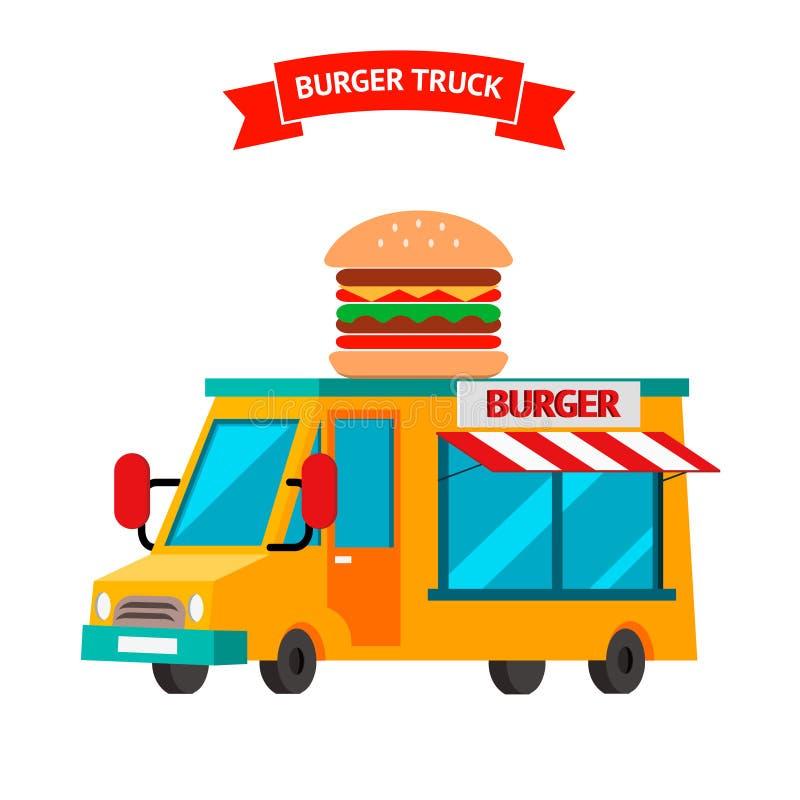 Hamburger ciężarówka karmowy wiszącej ozdoby menchii sprzedawca ilustracji