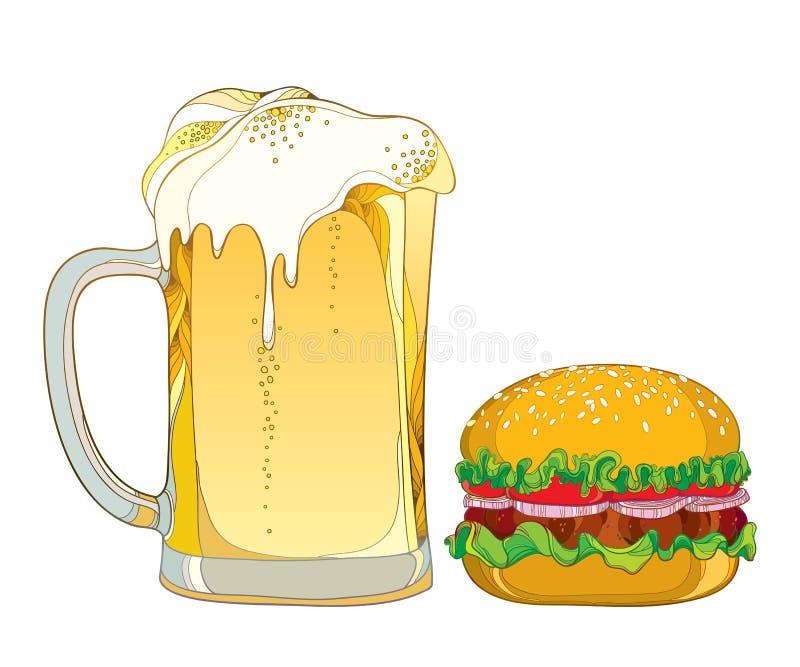 Hamburger classico del profilo di vettore con manzo arrostito e la tazza con la birra chiara della schiuma isolata su fondo bianc illustrazione vettoriale