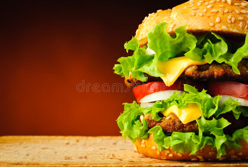 Hamburger closeup stock images