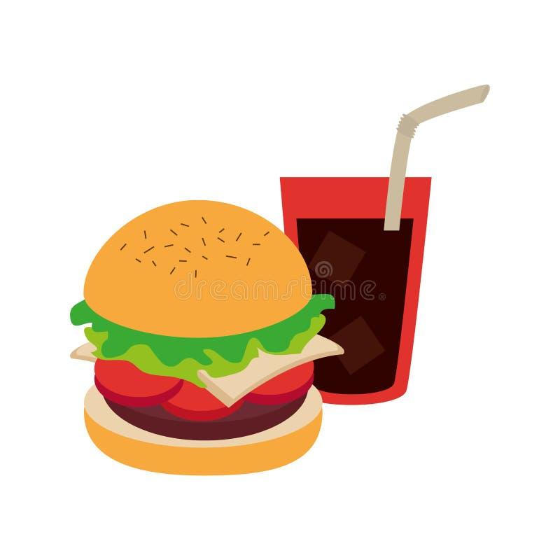 Hamburger with coke soda with straw. Vector illustration royalty free illustration
