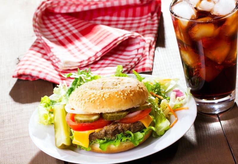 Hamburger With Cola Stock Photo