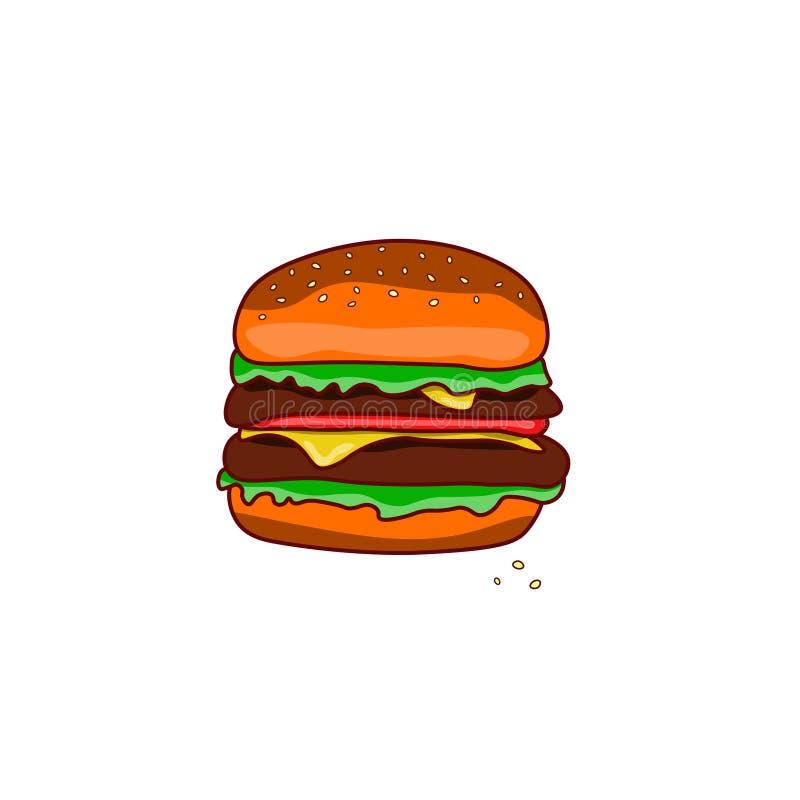 Hamburger color? classique sur un fond d'isolement blanc illustration de vecteur