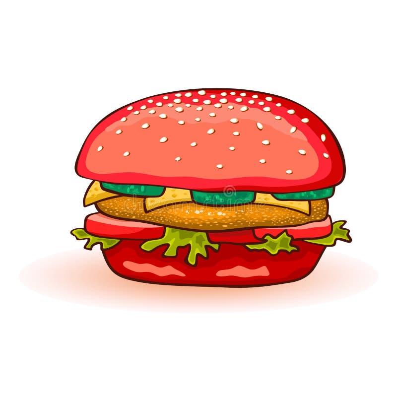 Hamburger coloré rouge comprenant le petit pâté de boeuf, fromage, tomate, concombre, laitue, sauce, oignons, moutarde illustration stock
