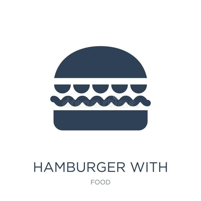 Hamburger com ícone do bacoon no estilo na moda do projeto Hamburger com o ícone do bacoon isolado no fundo branco Hamburger com  ilustração do vetor