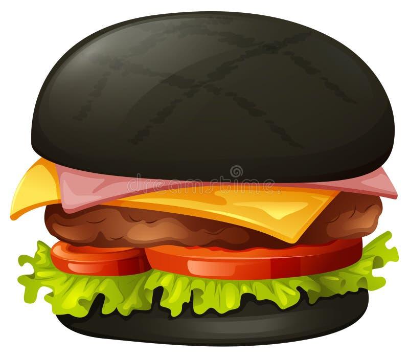 Hamburger com bolo preto ilustração royalty free