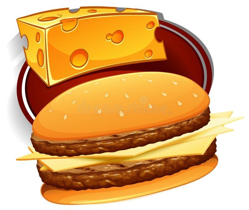 Hamburger com carne e queijo ilustração stock