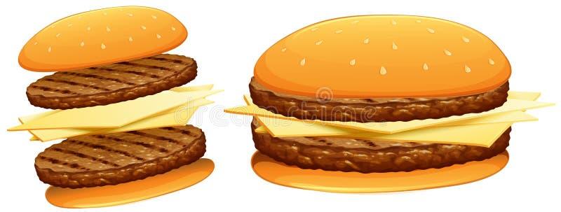Hamburger com carne e queijo ilustração do vetor
