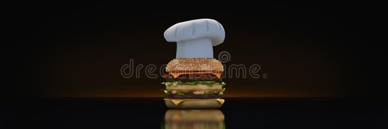 Hamburger com cozinheiro chefe do chap ilustração do vetor