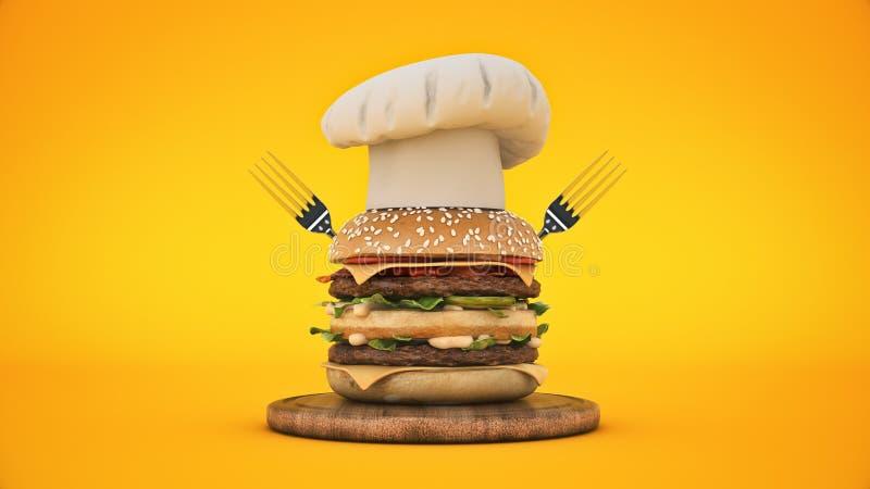 Hamburger com cozinheiro chefe do chap?u ilustração stock