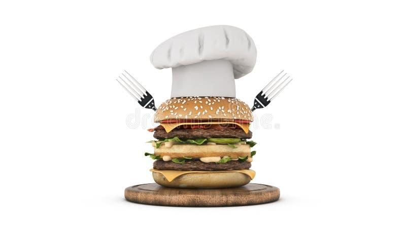 Hamburger com cozinheiro chefe do chap?u ilustração do vetor