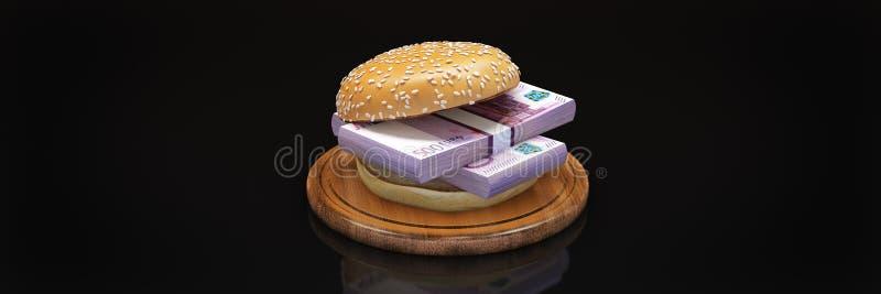 Hamburger com euro- c?dulas ilustração stock