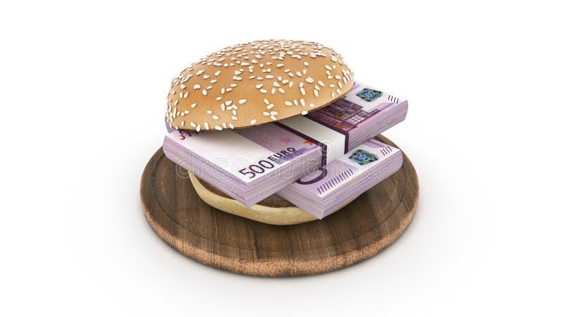 Hamburger com euro- c?dulas ilustração royalty free