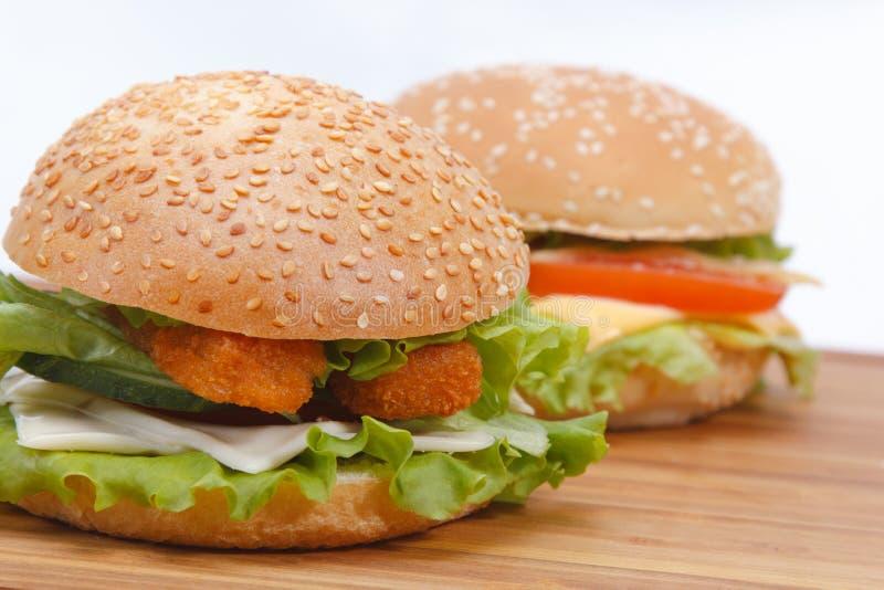 Hamburger com queijo das costoletas dos peixes e as ervas frescas no fundo do cheeseburger foto de stock