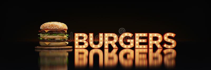 Hamburger com sinal de n?on ilustração do vetor