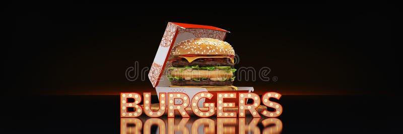 Hamburger com sinal de n?on ilustração stock
