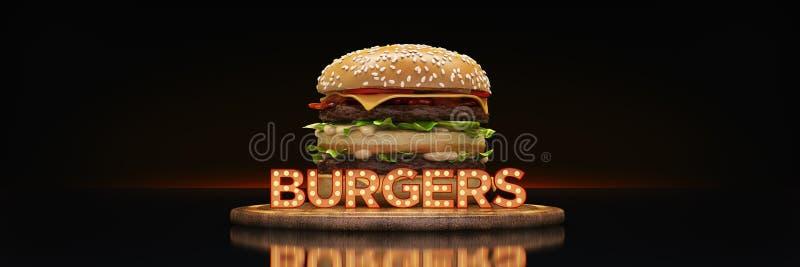 Hamburger com sinal de n?on ilustração royalty free