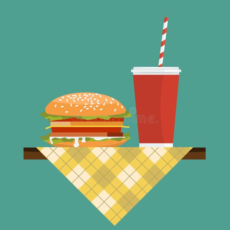 Hamburger com soda no guardanapo sobre a tabela Vetor liso da cor ilustração do vetor