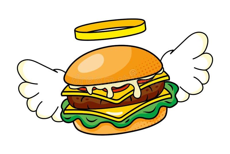 Hamburger con l'illustrazione di vettore delle ali illustrazione vettoriale