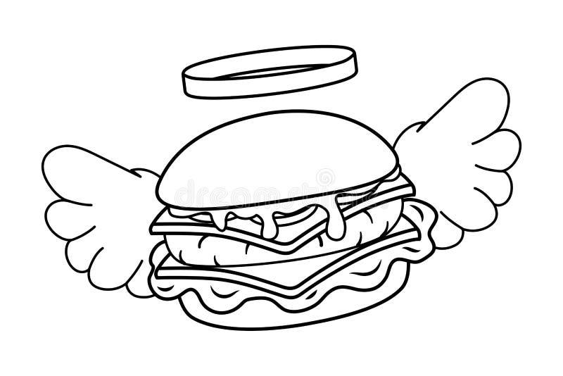 Hamburger con le ali in bianco e nero illustrazione vettoriale