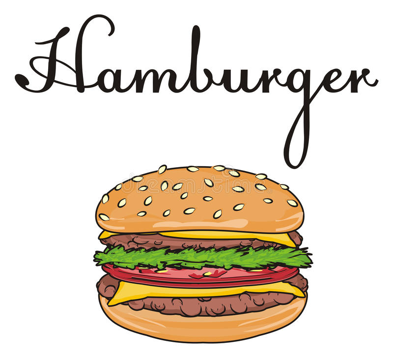 Hamburger con le lettere illustrazione di stock