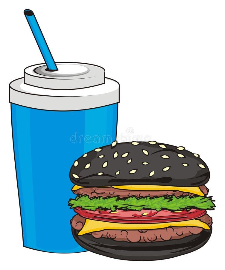 Hamburger con soda illustrazione di stock