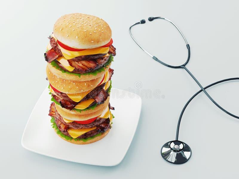 hamburger Conceito da dieta de fast food, comer demais obrigatório e fazer dieta rendi??o 3d ilustração stock