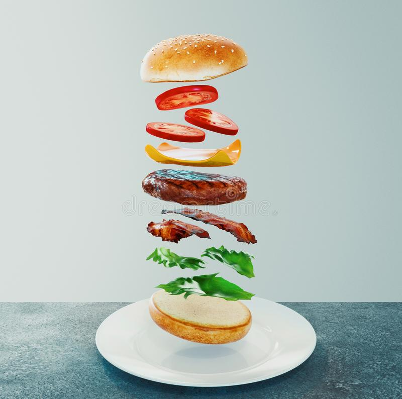 hamburger Conceito da dieta de fast food, comer demais obrigatório e fazer dieta rendi??o 3d ilustração do vetor