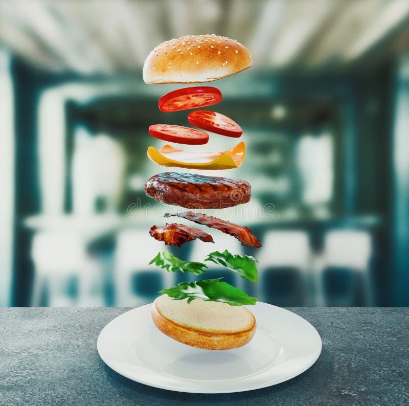 hamburger Conceito da dieta de fast food, comer demais obrigatório e fazer dieta rendi??o 3d ilustração royalty free