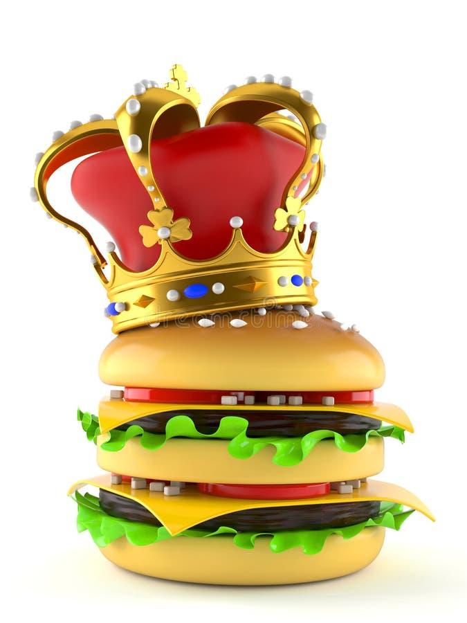 Hamburger with crown stock illustration