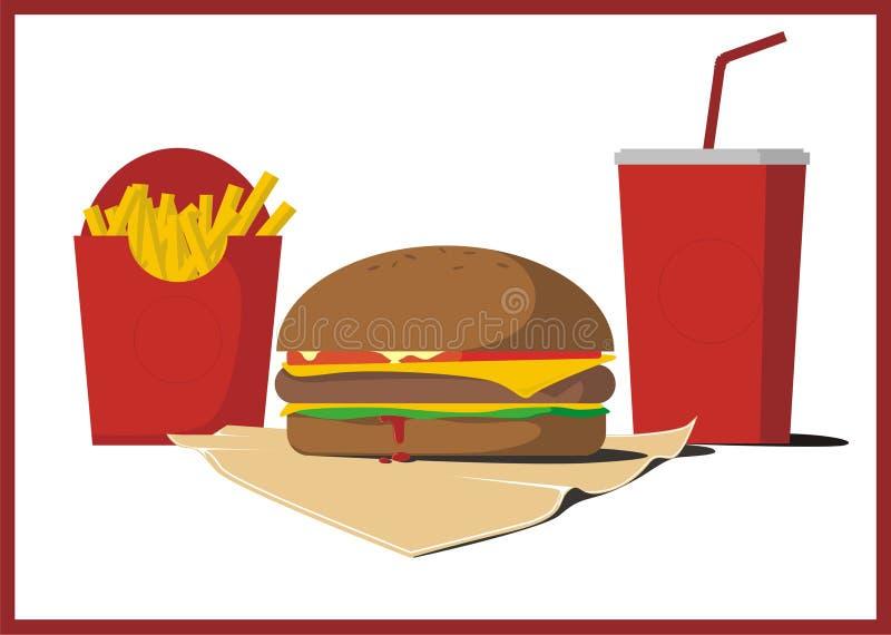 Hamburger délicieux avec les pommes frites et le kola illustration libre de droits