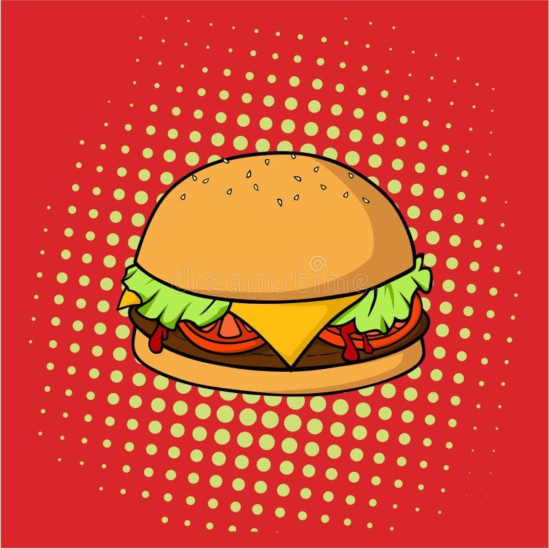 Hamburger délicieux, nourriture industrielle, bruit Art Vector Design, illustration illustration stock