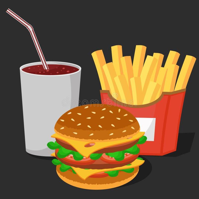 Hamburger, dłoniaki i napój w rozporządzalnym szkle na białym tle, ilustracja wektor
