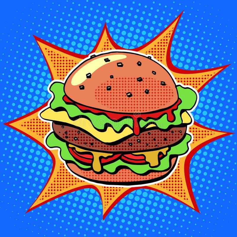 Hamburger d'aliments de préparation rapide avec de la salade et le fromage de viande de sésame illustration stock