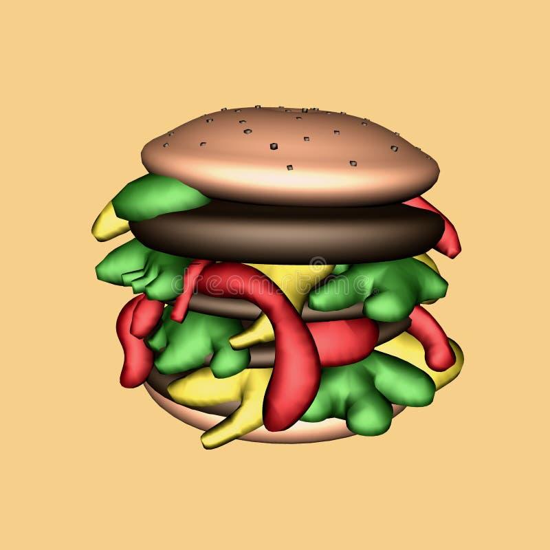 Hamburger 3D illustratie op oranje achtergrond wordt geïsoleerd die royalty-vrije stock foto